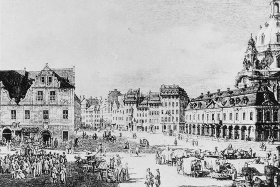 Auf dem Neumarkt stand im Jahre 1750 an gleicher Stelle das alte Gewandhaus (links im Bild).