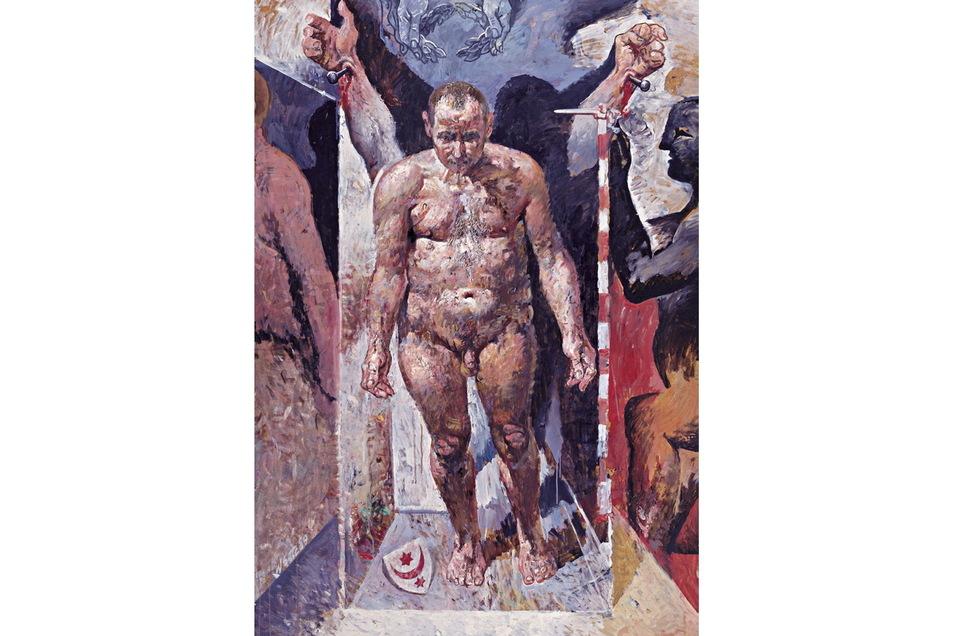 """""""Nur ein Mensch"""" von 1989/90 ist sehr wahrscheinlich auch ein Selbstporträt. Willi Sitte als gebrochener Mann. Quasi über Nacht war er zur persona non grata geworden."""
