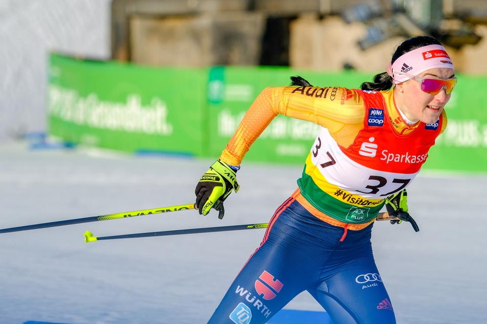 Bei ihrem ersten und bisher einzigen Einsatz im Weltcup belegte Jessica Löschke am Dresdner Elbufer den 15. Platz.