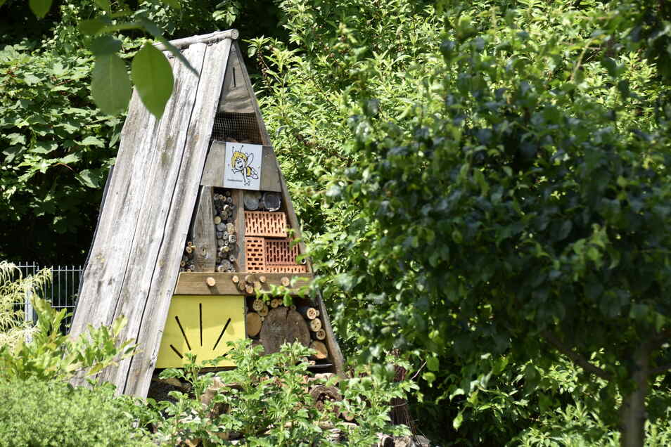 Im Eingangsbereich werden Besucher von einem stattlichen Insektenhotel begrüßt.