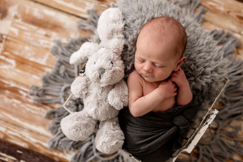 Nils, geboren am 14. März, Geburtsort: Diakonissenkrankenhaus Dresden, Gewicht: 3.130 Gramm, Größe: 48 Zentimeter, Eltern: Kristin und Martin Scholz, Wohnort: Radeberg