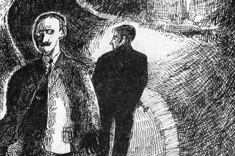 August 1927: Auf dem nächtlichen Heimweg von Deuben nach Gittersee wird ein 22-jähriger Mechaniker (auf unserer Abbildung rechts) angeschossen und schwer verletzt. War's der Mann mit dem Klemmer?