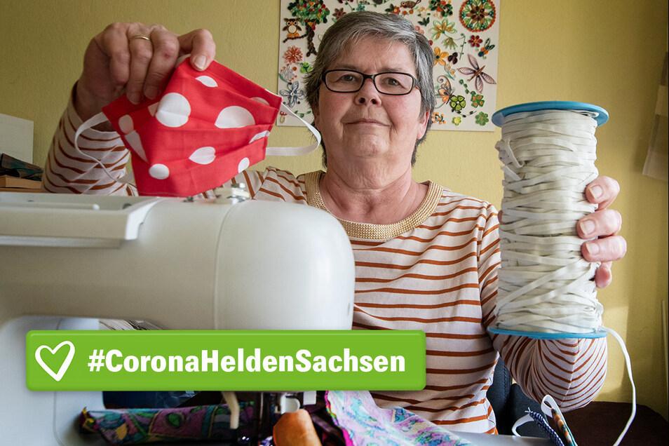 Ob kariert oder mit Punkten – Mundschutz, genäht von Roswitha Lauer, gibt es in allen möglichen Farben und Mustern. Sie nutzt, was die Stoffvorräte hergeben.