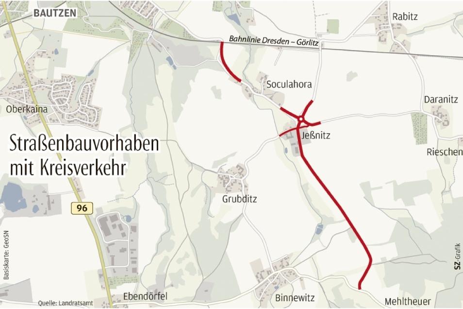 Die Kreisstraße zwischen Mehltheuer und Bautzen soll für rund fünf Millionen Euro ausgebaut werden. Die Grünen-Fraktion im Kreistag kritisiert das.