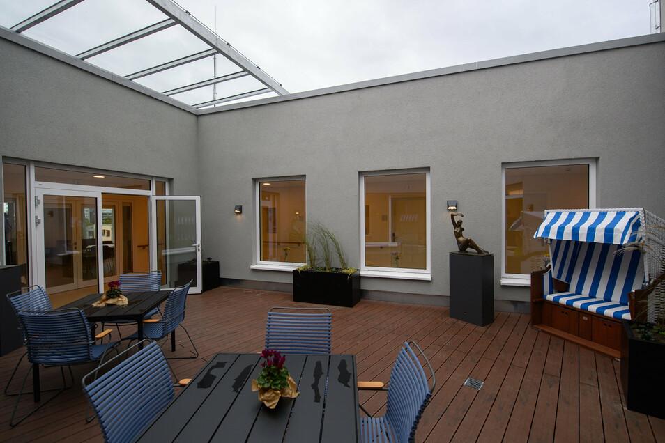 Ein Blick auf die Terrasse im Marien-Hospiz.