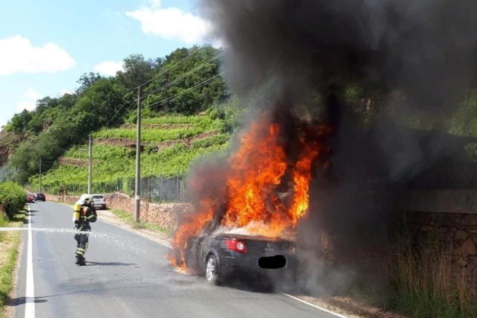 Am frühen Sonntagnachmittag brannte am Winterhafen, vor der Knorre, aus bislang ungeklärter Ursache ein Auto. Die Meißner Wehr war schnell zur Stelle.