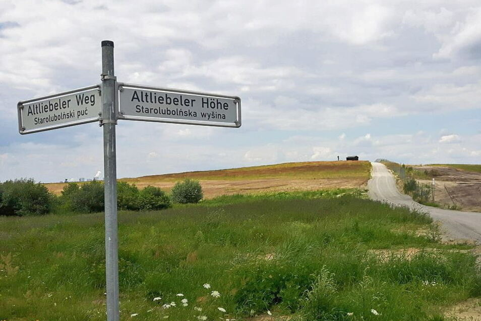 """Weg zum Aussichtspunkt """"Altliebeler Höhe"""" auf der rekultivierten Fläche im Tagebau Reichwalde."""