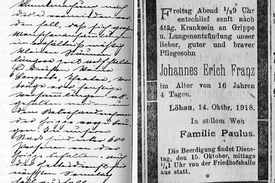 Genau verfolgte Emil Berndt das Pandemie-Geschehen und trug es handschriftlich in seine Chronik ein. Todesanzeigen mit Opfern der Spanischen Grippe in Löbau häuften sich im Herbst 1918.