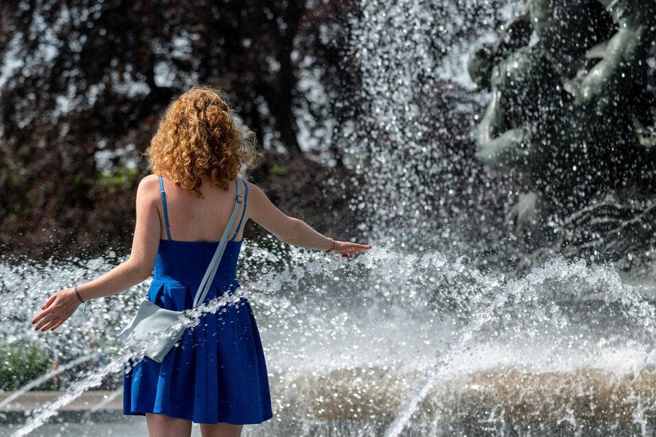 In Dresdens Brunnen - wie hier am Albertplatz - gilt ein striktes Badeverbot.