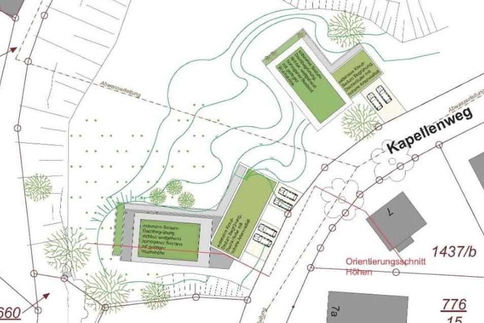 """Keine """"monotone Bebauung"""": Nur noch zwei Wohngebäude sehen die neuen Pläne für das private Bauvorhaben am Plossenhang vor, wie dieser Ausschnitt aus dem Entwurf zeigt."""