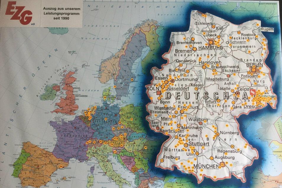 Nicht nur in Deutschland, auch in angrenzenden Ländern ist das EZG im Einsatz, wie man an dieser Tafel im Foyer sehen kann.