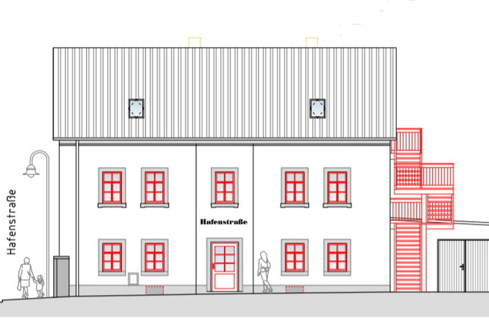 Die vom Meißner Architekten Jürgen Voigt erarbeiteten Entwürfe sehen den Anbau einer Fluchttreppe an das Gebäude vor.