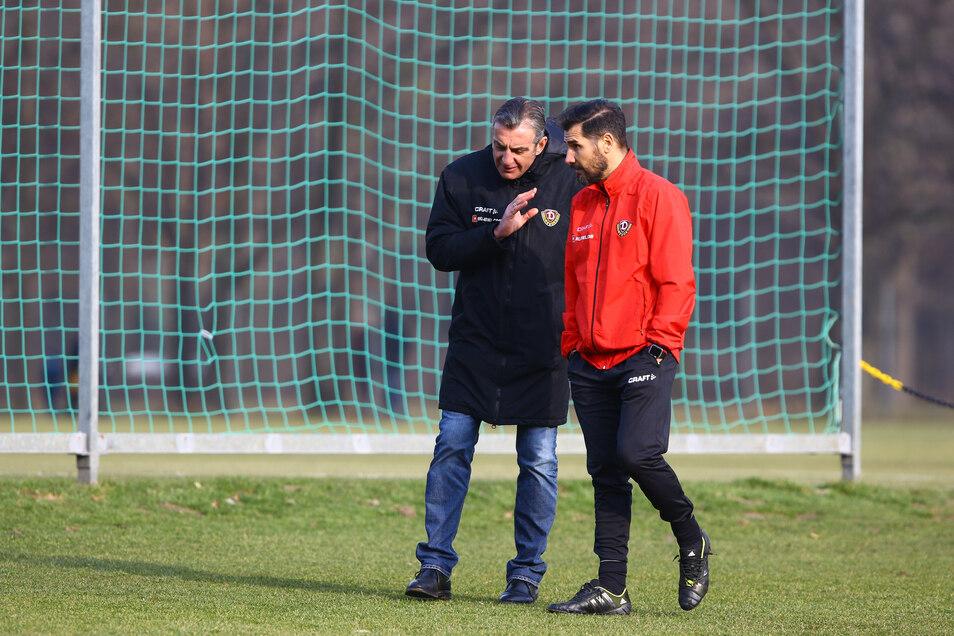 """Sie hatten beide in ihrer gemeinsamen Zeit bei Dynamo Dresden viel zu diskutieren: Sportgeschäftsführer Ralf Minge und sein """"Trainer-Projekt"""" Cristian Fiel."""