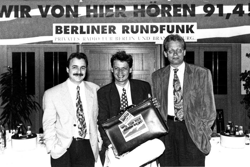 Beim Neustart des Berliner Rundfunks war auch Günther Jauch (M.) dabei.