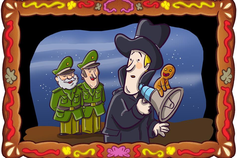 Will eine Festnahme gut gelingen, muss Detektiv Spätzle ein Weihnachtslied singen.