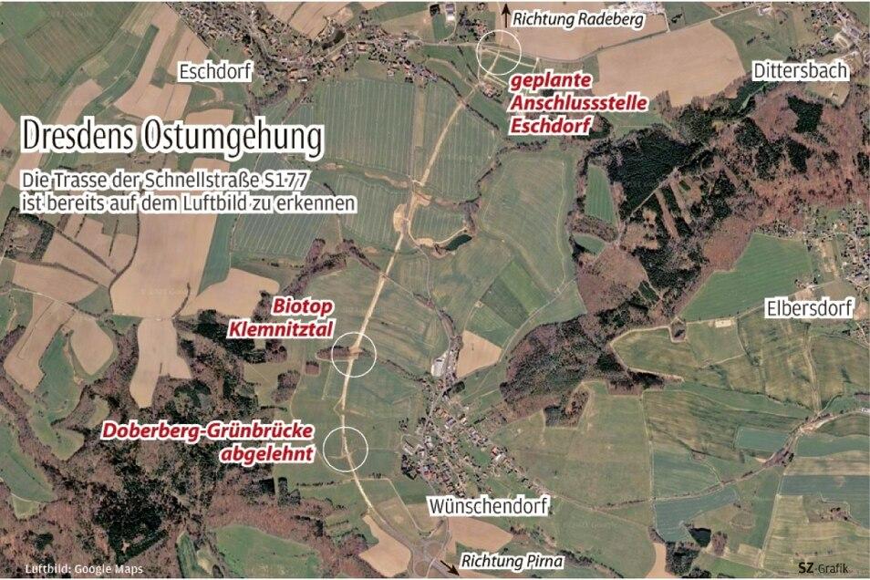 Dresdens Ostumgehung bei Wünschendorf und Eschdorf auf dem Satellitenbild. Gebaut wird noch nicht, doch die Trasse ist durch die Vorarbeiten bereits erkennbar.