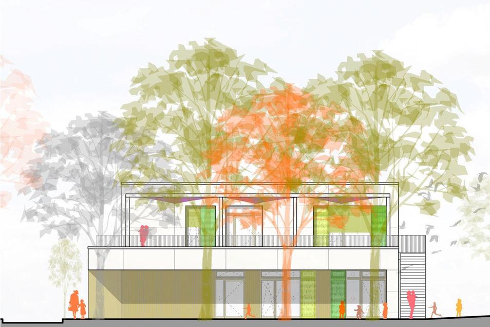 So soll die neue Kindertagesstätte aus Richtung Salzstraße aussehen.