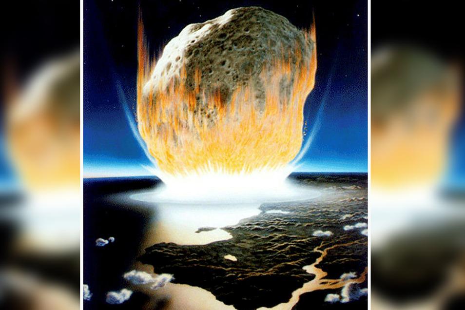 Künstlerische Interpretation eines Asteroidenaufpralls auf der Erde. Der Asteroid im Bild erscheint viel größer als der rund zehn Kilometer lange Felsen, von dem Wissenschaftler annehmen, dass er vor 66 Millionen Jahren auf der Erde aufschlug.