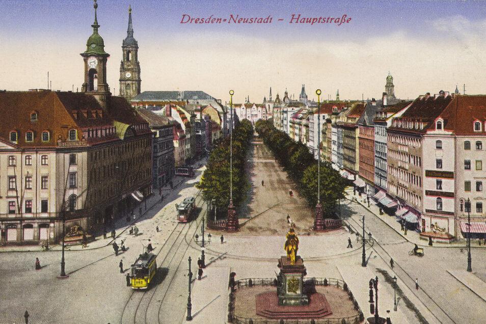 Die Bäume an der Hauptstraße in der Inneren Neustadt sind mittlerweile wesentlich größer als auf dieser mehr als 100 Jahre alten Karte.