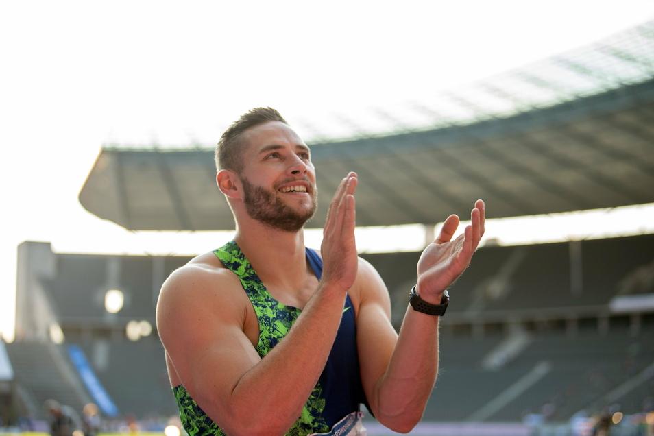 """... und der Dresdner Speerwerfer Johannes Vetter. Bei der Wahl zu den """"Sportlern des Jahres 2020"""" gehören sie zu den Favoriten."""