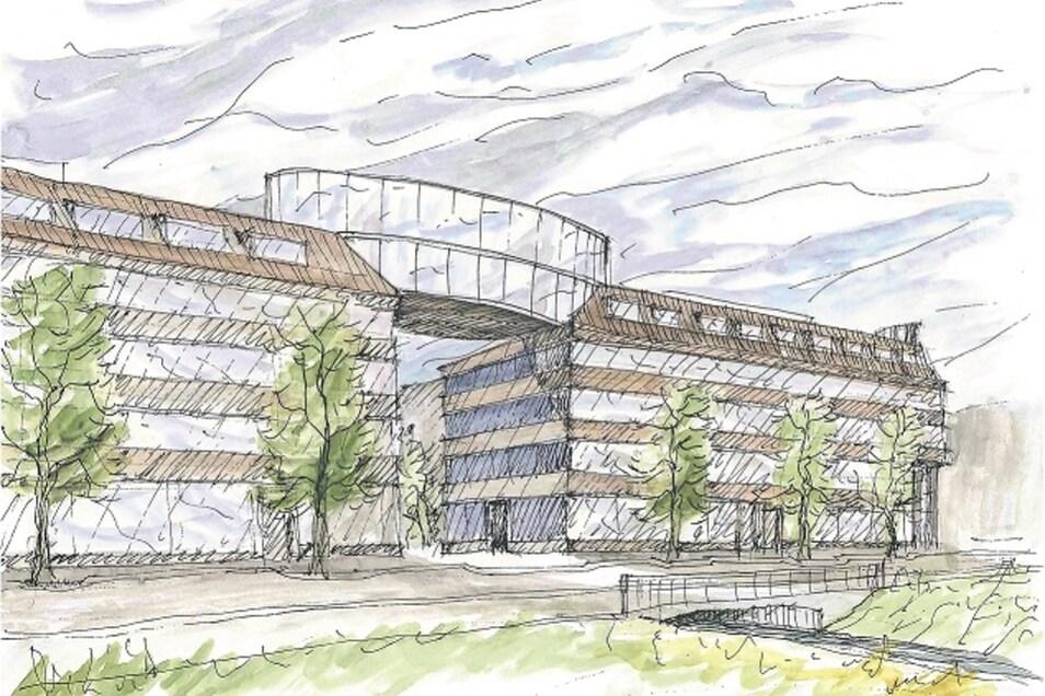 Die Zeichnung zeigt die geplante Fassade des Behördenzentrums entlang der Poisentalstraße. Markant ist die Luftbrücke als Verbinder zwischen zwei Gebäudeteilen.