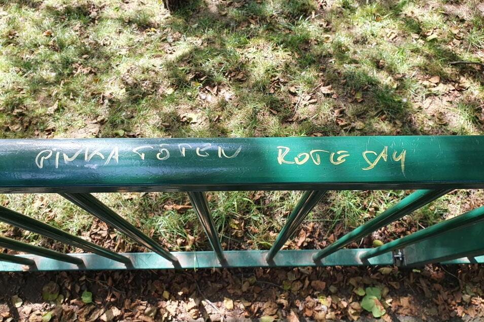 Auf ein Geländer einer Brücke im Albertpark in Freiberg war am Sonnabend eine Drohung gegen die stellvertretende Vorsitzende der Linken im Kreistag von Mittelsachsen Jana Pinka aufgesprüht worden.