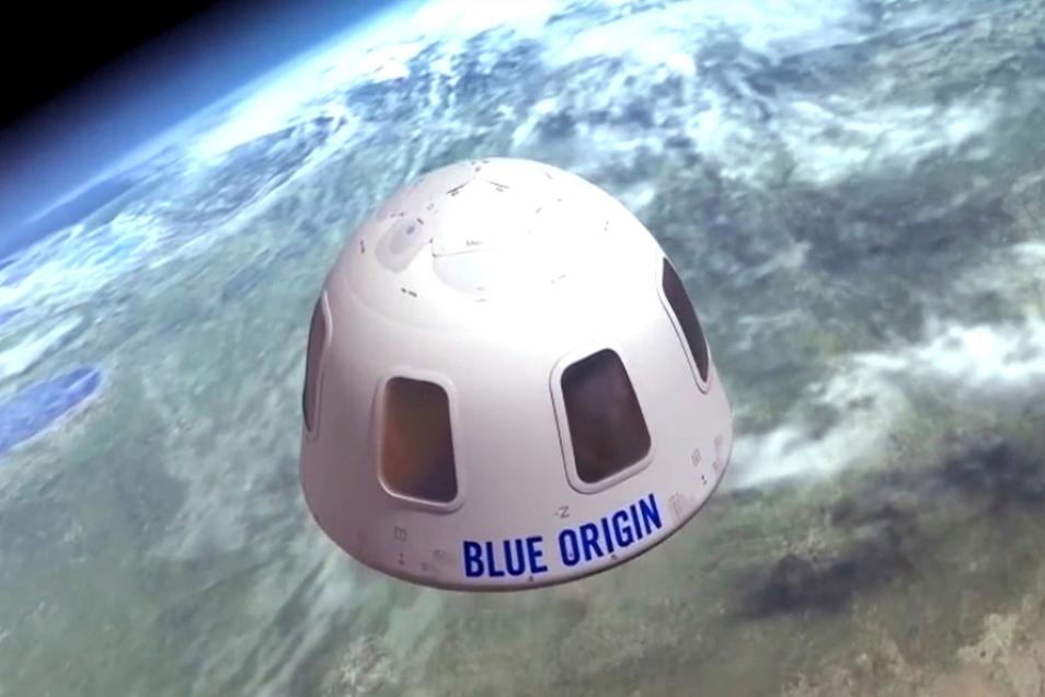 Diese Illustration, die von Blue Origin zur Verfügung gestellt wurde, zeigt die Kapsel, mit der die Firma Touristen ins All bringen will.