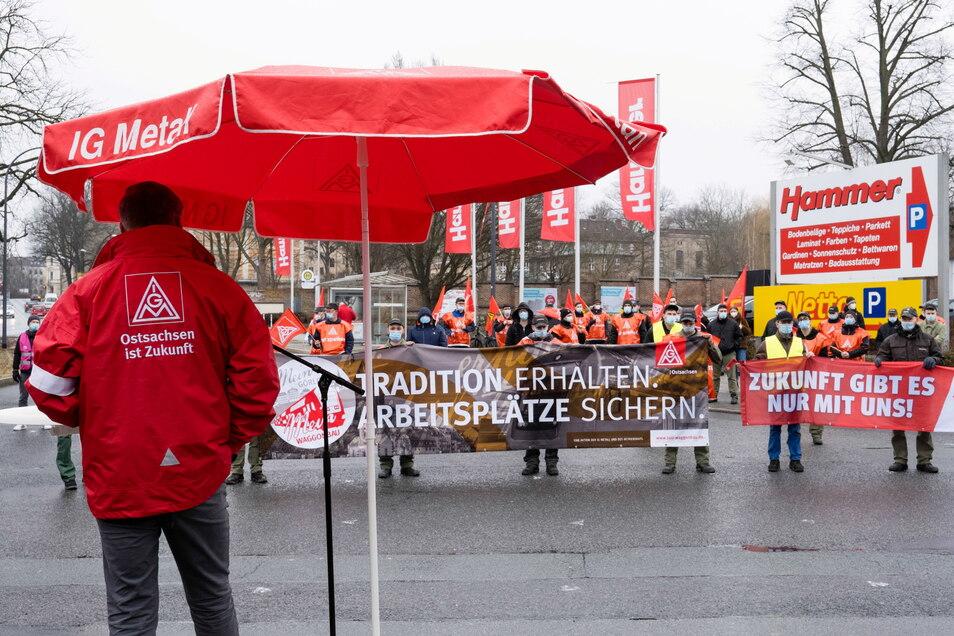 Warnstreik bei Alstom in Görlitz.