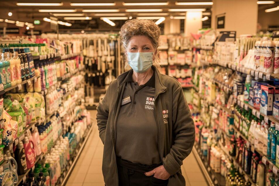 Zuletzt war Monika Stephan 25 Jahre lang für die Drogerie-Abteilung in der Konsum-Filiale im Gorbitzer Sachsenforum verantwortlich.