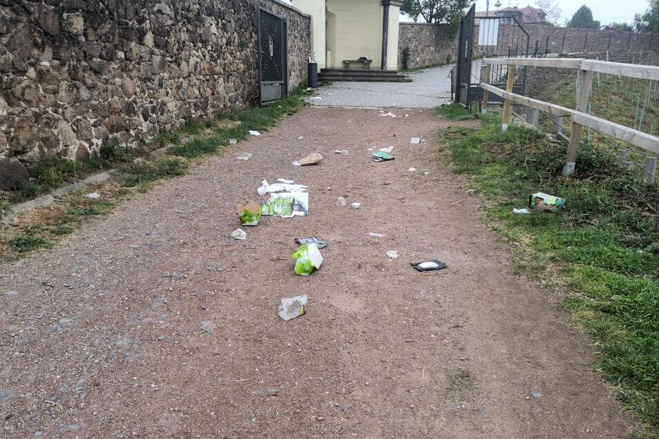 Müll einfach weggeworfen auf dem Wanderweg oberhalb vom Goldenen Wagen. Sollte am Bismarckturm nicht eine Tonne aufgestellt werden?, fragen Bürger.