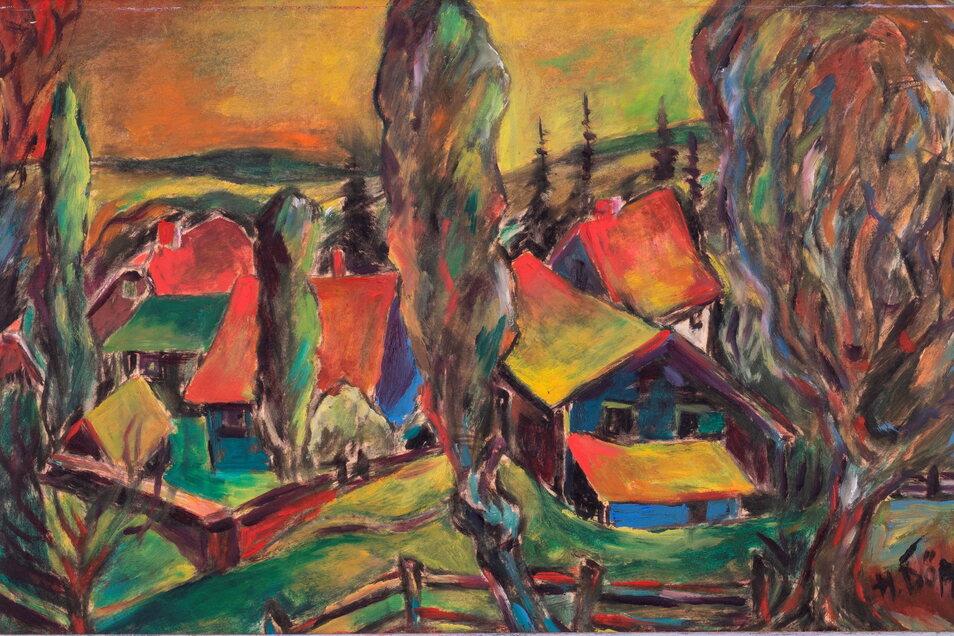 Der Maler Heinrich Döpp (1899 – 1959) fand dieses Motiv in Obernaundorf. Foto: Städtische Sammlungen Freital / Franz Zadnicek