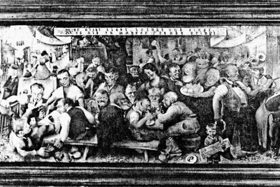 Der Hainsberger Maler Fritz Junghans war auf der 1. Deutschen Kunstausstellung nach dem Krieg in der Freitaler Gewerbeschule mit deftigen Eckersdorfer Rollmopsschänken-Szenen vertreten. Abbildungen: Sammlung Huth
