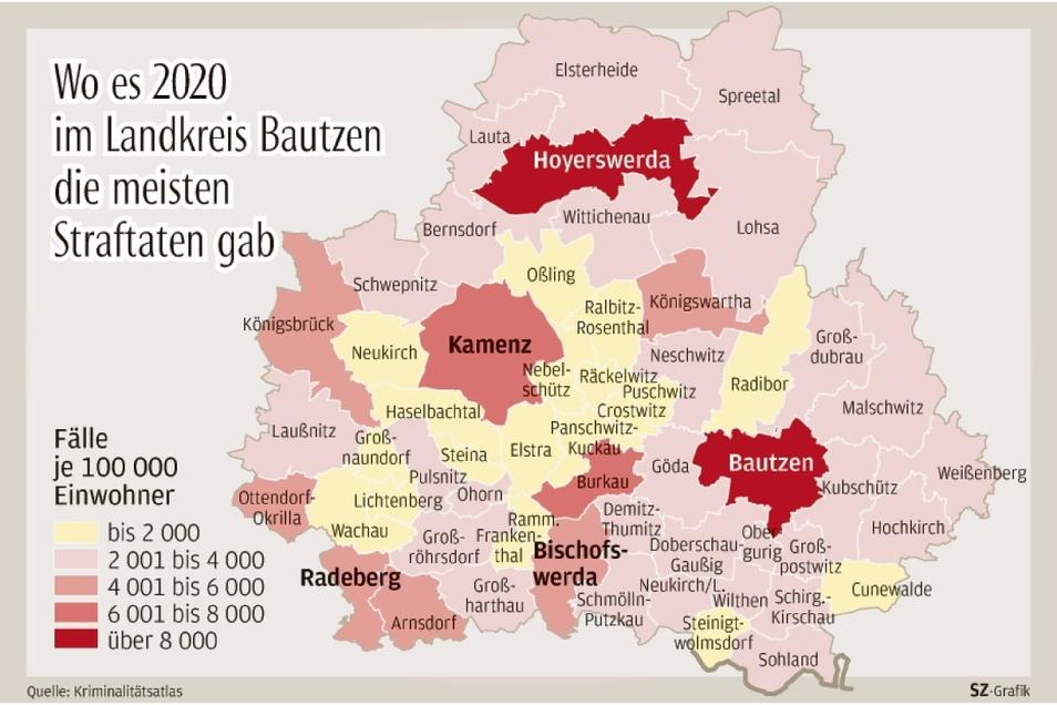 Die meisten Straftaten im Kreis Bautzen gab es 2020 in Bautzen und Hoyerswerda. Nach Crostwitz verirrten sich nur wenige Straftäter; die Gemeinde steht sachsenweit mit am besten da.