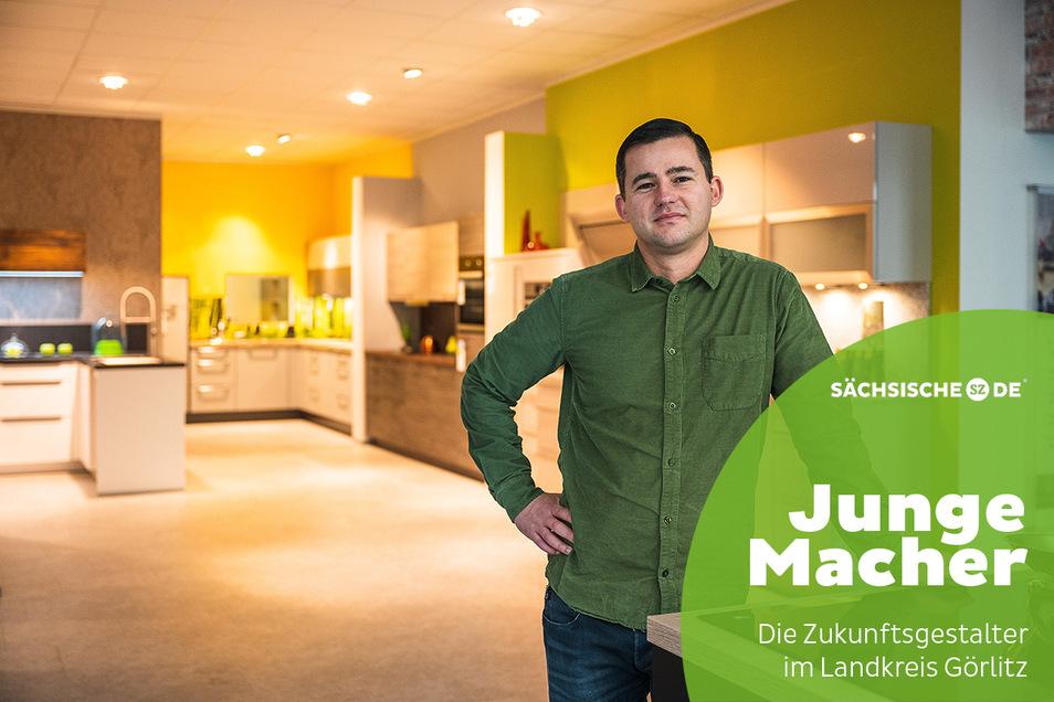 Stephan Krebs in seinem Küchenstudio auf der Görlitzer Dr.-Friedrichs-Straße.