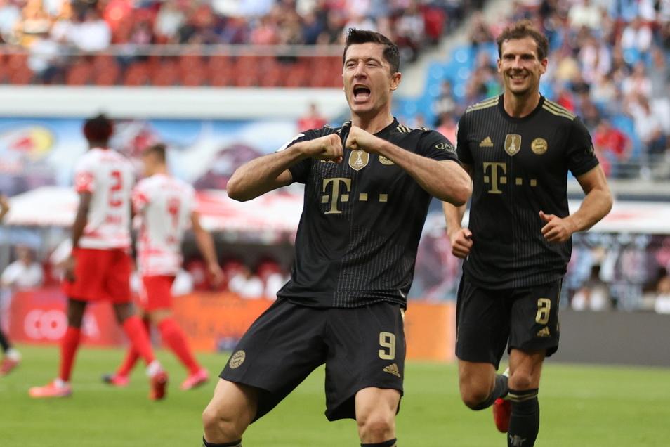 Wieder die Bayern, wieder Robert Lewandowski. Der Torjäger bringt den Rekordmeister in Leipzig mit 1:0 in Führung. Am Ende gewinnen die Münchner deutlich.