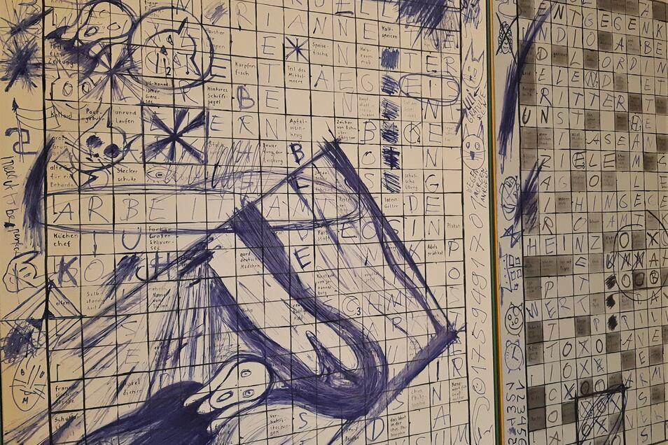 Wie beschäftigen wir uns, wenn die Wirtschaft still steht? Eine Möglichkeit: Das gedankenlose Malen während eines Telefonats oder das Vertreiben der Zeit mit Kreuzworträtseln. Ein Ölmotiv auf Leinwand von Alexander Endrullat.