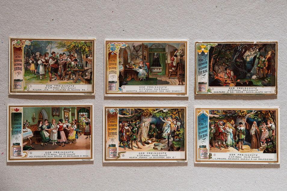 """Um 1900 wurden populären Produkten - hier """"Liebig Company´s Fleischextrakt"""" kleine Serien von Bildern zu verschiedensten Themen beigefügt, die gesammelt und in passende Alben eingeklebt wurden."""