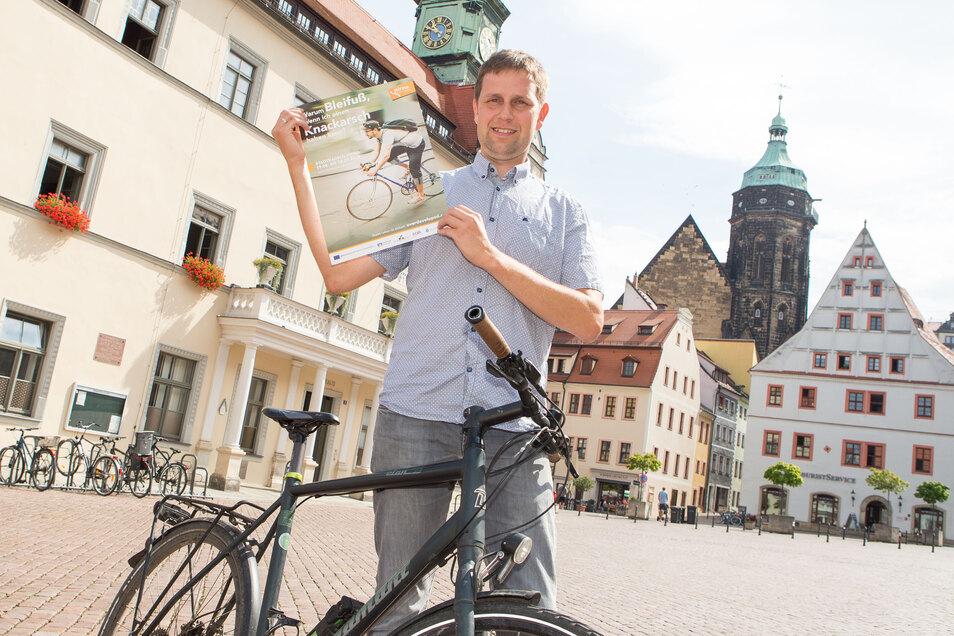 Wirbt fürs Radfahren: Pirnas Klimaschutzmanager Thomas Freitag.