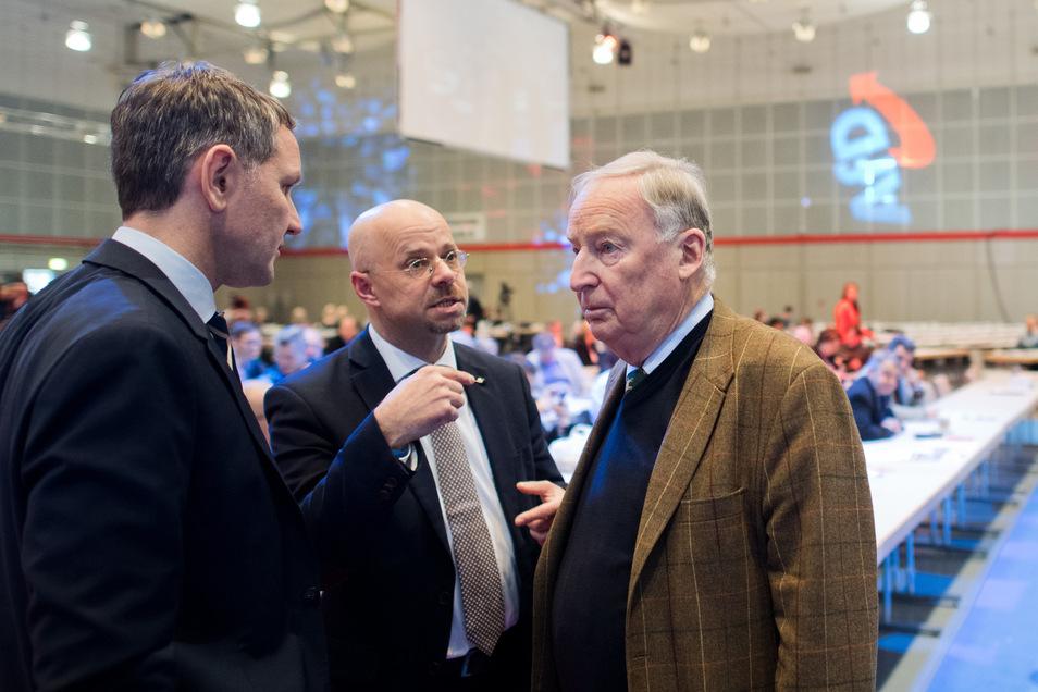 Der Thüringer AfD-Chef Björn Höcke, Brandenburgs Landeschef Andreas Kalbitz und Parteichef Alexander Gauland.