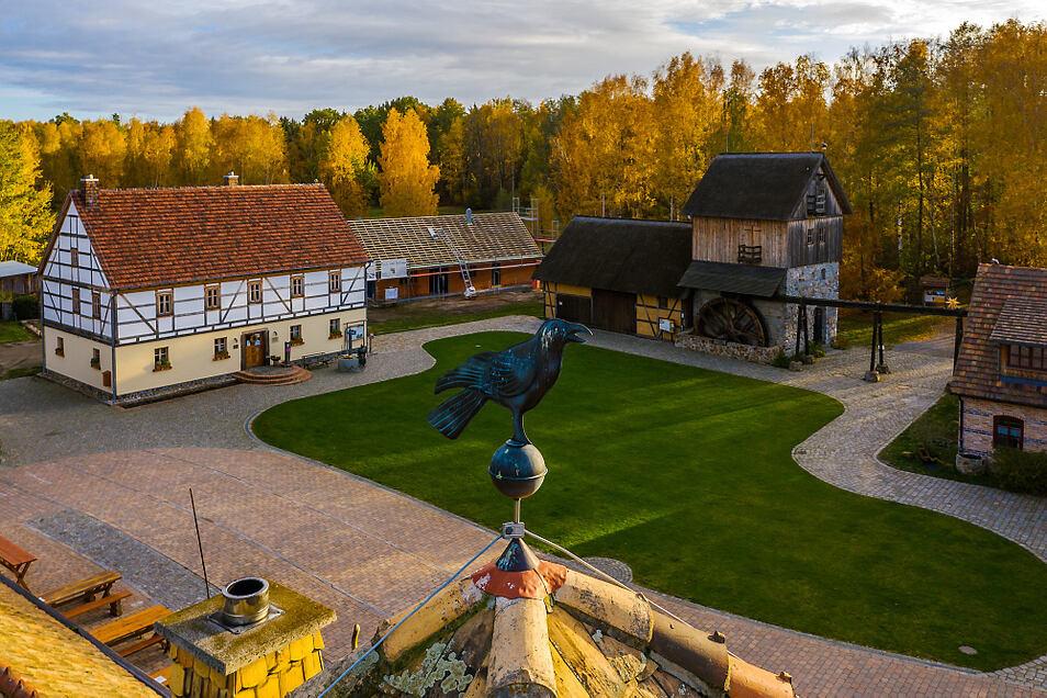 Die Krabatmühle Schwarzkollm aus der Vogelperspektive.