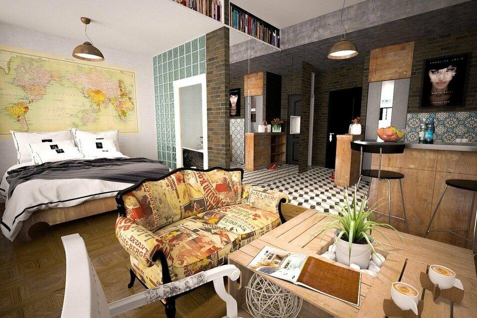 Holz sorgt für ein gutes Raumklima. Besonders gut meistern Massivholzmöbel diese Aufgabe. Im Schlafzimmer könnte ein Massivholzbett als natürlicher Luftklimaregulierer fungieren. Auch bei einer Ein-Raum-Lösung wie dieser regulieren die Holzmöbel das