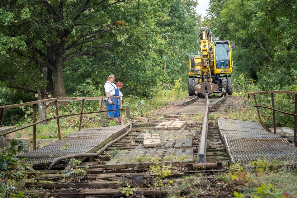 Mitarbeiter einer Gleisbaufirma aus Sachsen-Anhalt bauen mittels Bagger und weiterer Spezialtechnik in Nickritz Teile der kürzlich beschädigten Bahnbrücke zurück.
