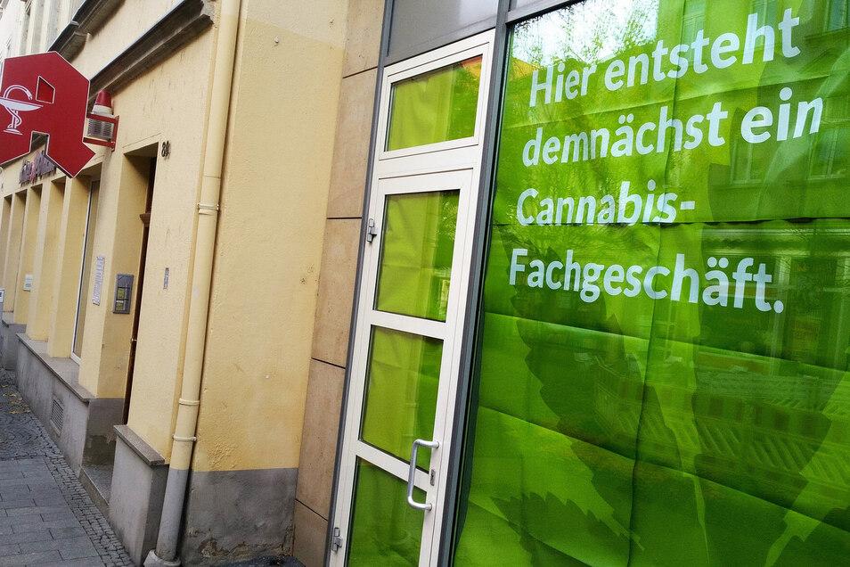 Hier entsteht demnächst ein Cannabis-Fachgeschäft: Mit diesem Werbegag hatten die Initiatoren der Aktion im November 2018 für Aufmerksamkeit gesorgt.