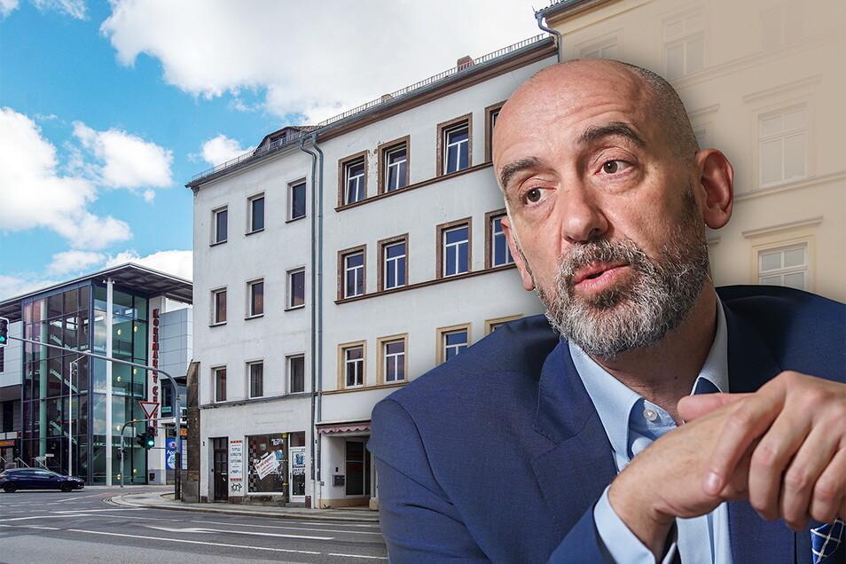Der Bautzener Oberbürgermeister Alexander Ahrens will sein Haus in der Äußeren Lauenstraße verkaufen. Es geht um das weiße Haus in der Bildmitte.