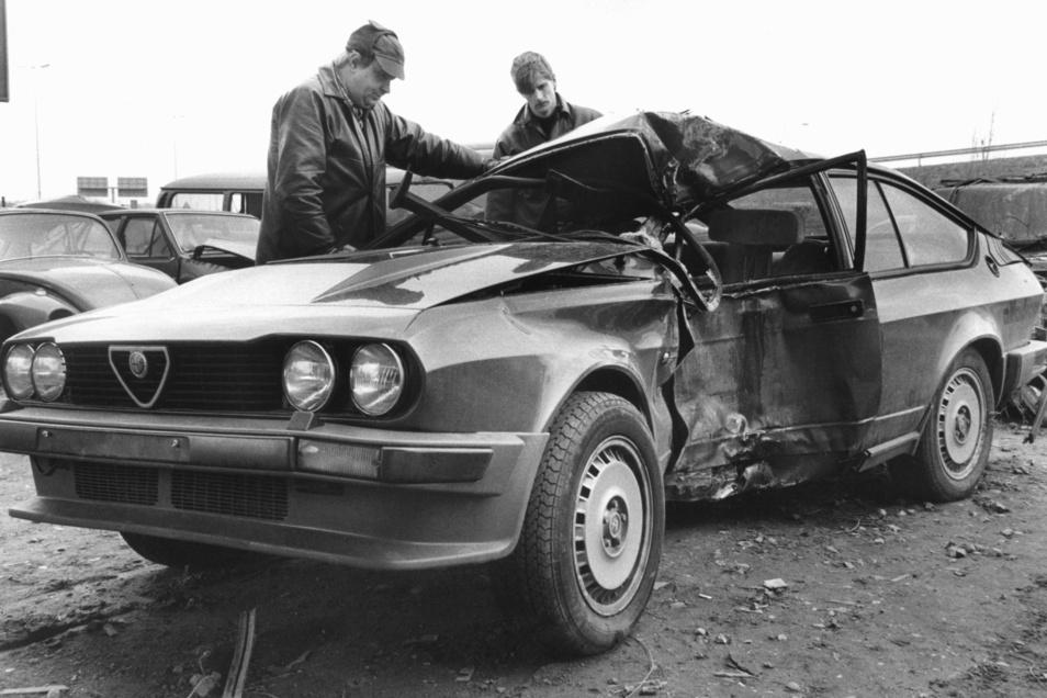 Das Unfallauto von Lutz Eigendorf: Er starb am 5. März 1983 an seinen Verletzungen.