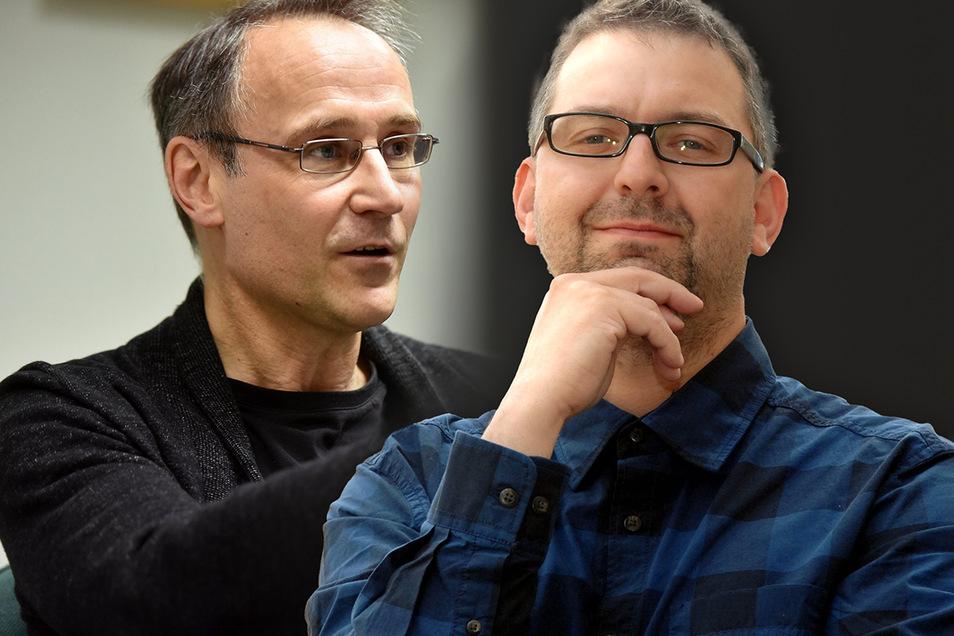 Thomas Schwitzky (links), Chef der Zkm-Fraktion im Zittauer Stadtrat, beschwert sich über Jens Hentschel-Thöricht, Fraktionschef der Linken.