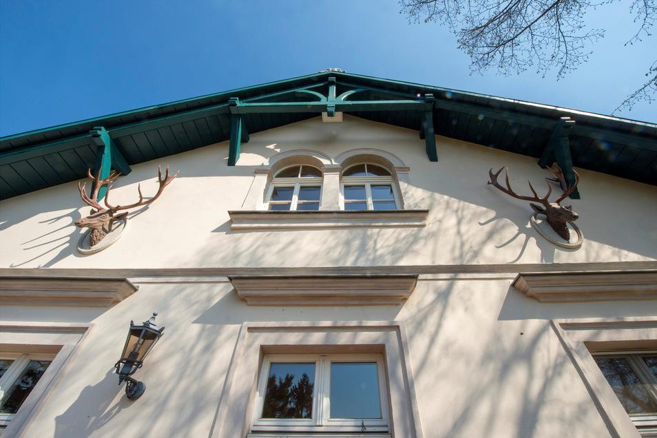 Die Geweihe an der Fassade sind vom ehemaligen Bewohner Professor Fritz Jürgen Obst als Nachbildungen vom Moritzburger Schloss angebracht worden.