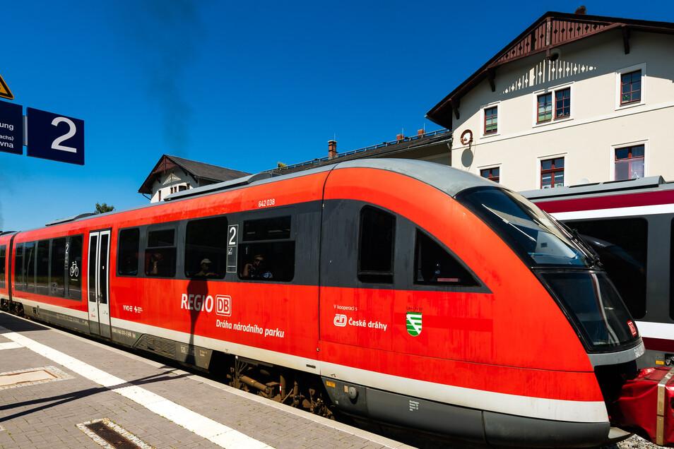 Nationalparkbahn am Sebnitzer Bahnhof: Die roten Triebwagen sind hier vorerst nicht mehr zu sehen.