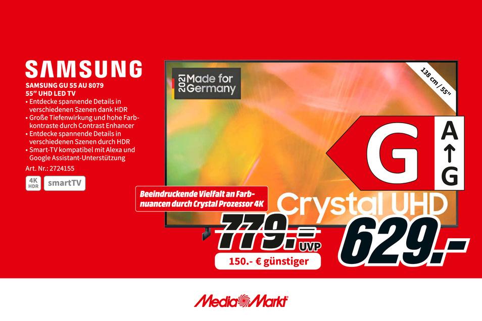 """Samsung GU 55 AU 8079 55"""" UHD LED TV statt 779€ jetzt für 629€"""