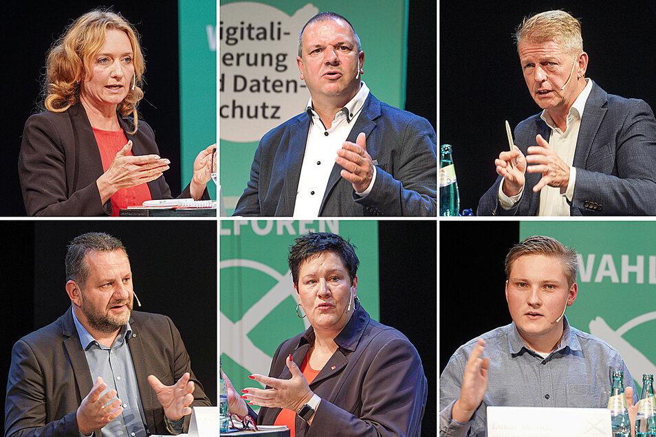 Die sechs Direktkandidaten der bisher im Bundestag vertretenen Parteien für den Wahlkreis Bautzen I positionieren sich beim Wahlforum.